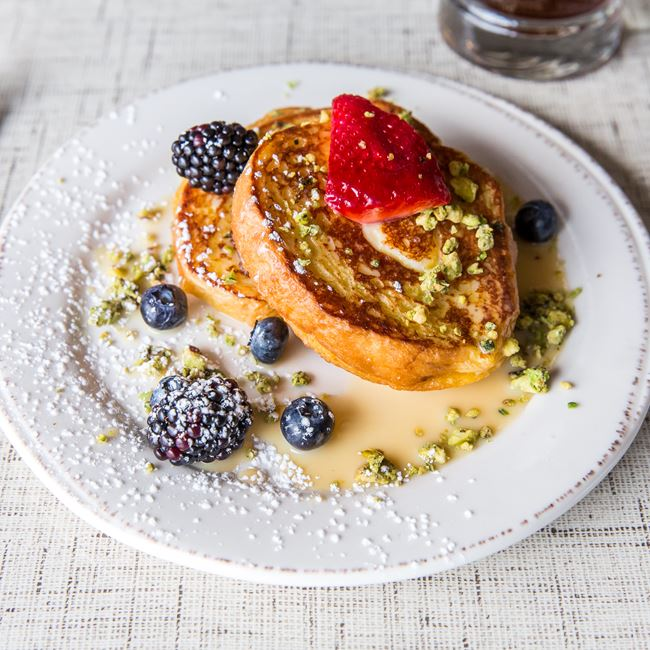 Stuffed Pistachio Tres Leche French Toast at Morning Collective