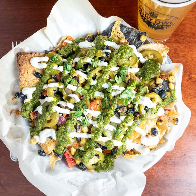 Nachos Verde at The Ruby Owl Tap Room