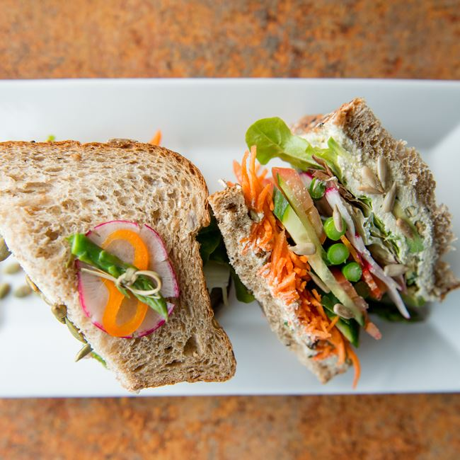 Vegan Veggie Sandwich at Bluefront Cafe