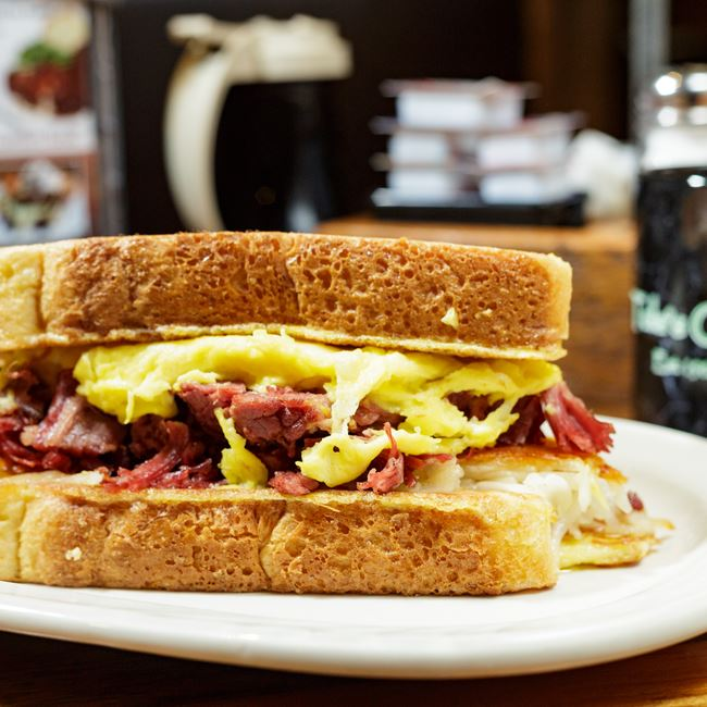 Corned Beef Breakfast Sandwich at Tula's Café