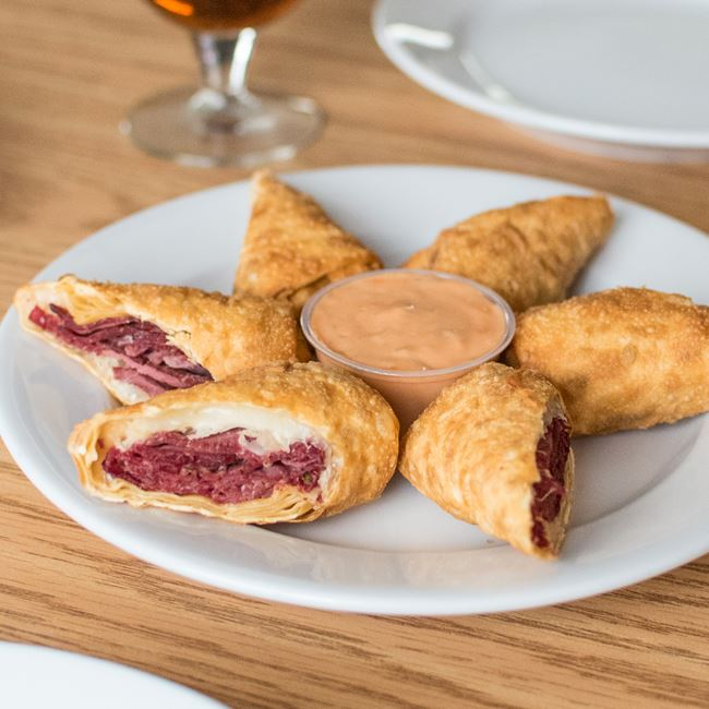 Reuben Wonton Wraps at Sunset Bar & Grill