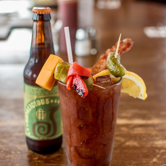 """Big 10"" Bloody Mary at Daisy Cafe and Cupcakery"