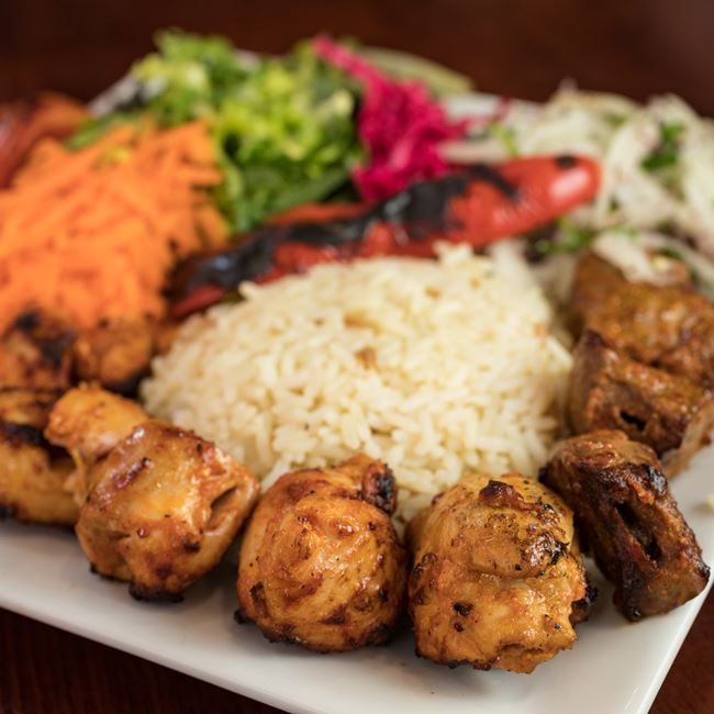 Half Chicken Half Lamb Shish Kebab at Efes Mediterranean Grill