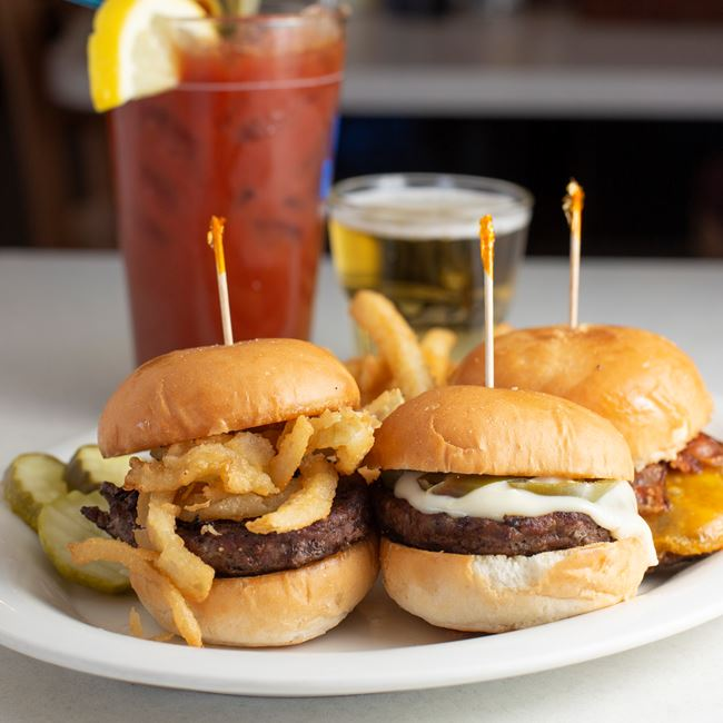 Three Burger Sliders at Mike's Port Pub & Grill