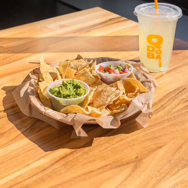 Chips and Guacamole with Salsa at QDOBA Mexican Eats