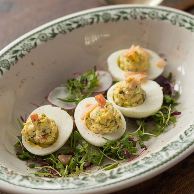 Smoked Trout Deviled Eggs at Fuel Café
