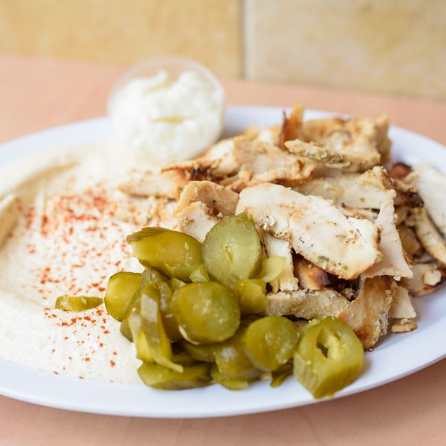 Hommos and Shawarma at Oasis Mediterranean Grill