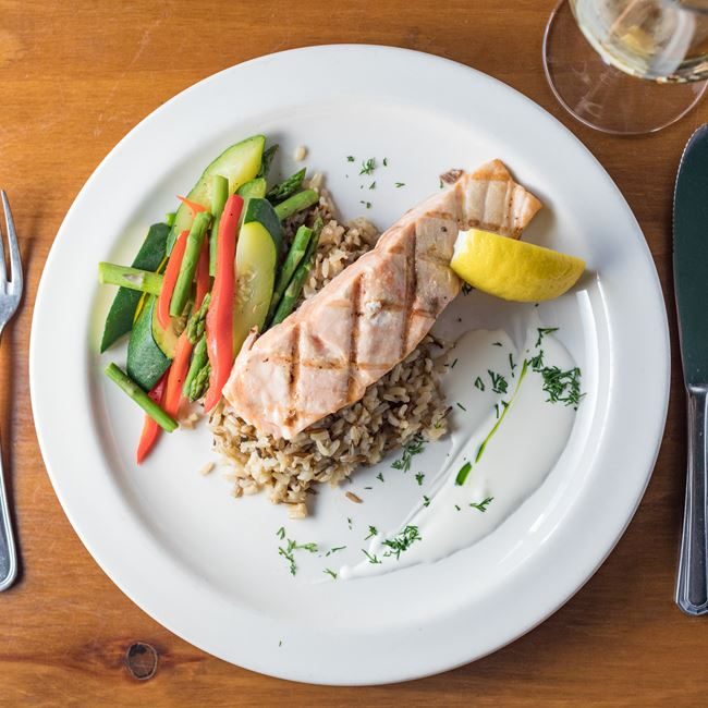Grilled Salmon at Houligans Steak & Seafood Pub