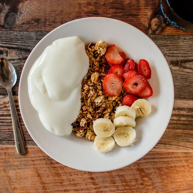 Granola, Yogurt and Fresh Fruit at Yola's Cafe