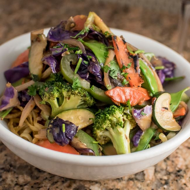 Crispy Thai Peanut Noodle Bowl at Sunroom Cafe