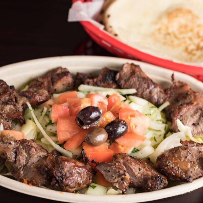 Shish Kebob Plate at Mamoun's Falafel Restaurant