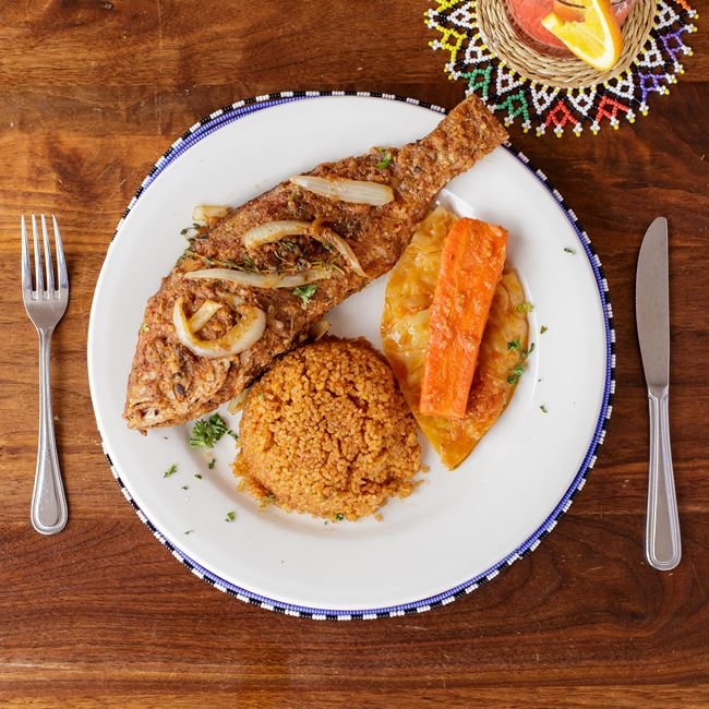West African Style Grilled Snapper + Joloff Rice at Irie Zulu