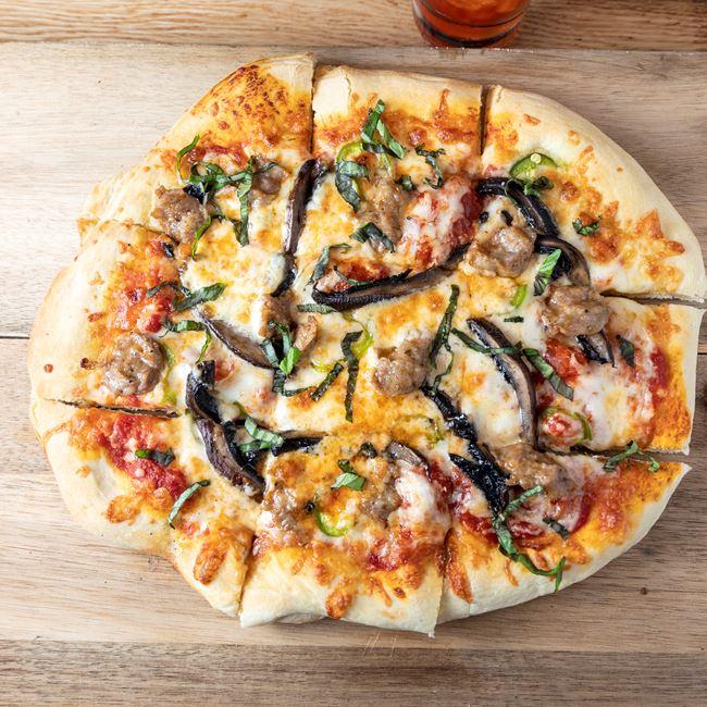 Hot Italian Sausage & Portobello Pizza at Granary