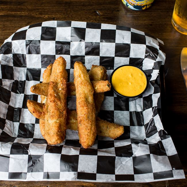 Deep Fried Pickles at Biker Jim's Dogs