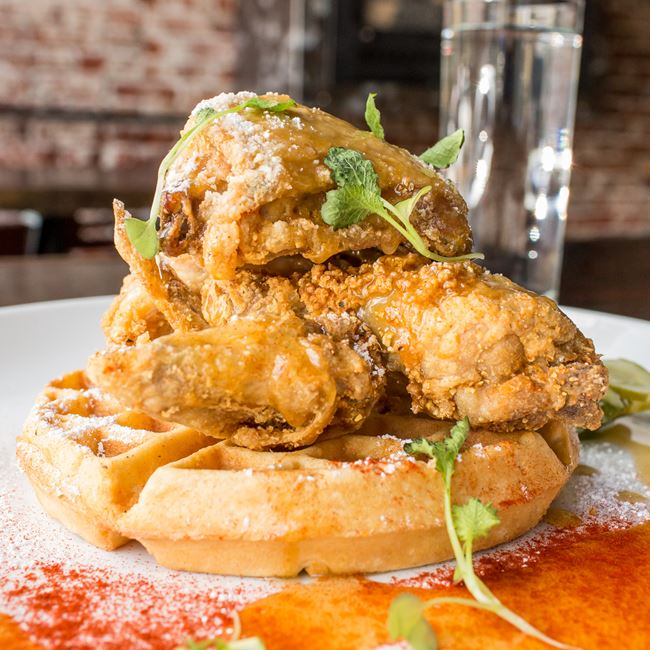 Fried Chicken and Waffles at Block & Larder