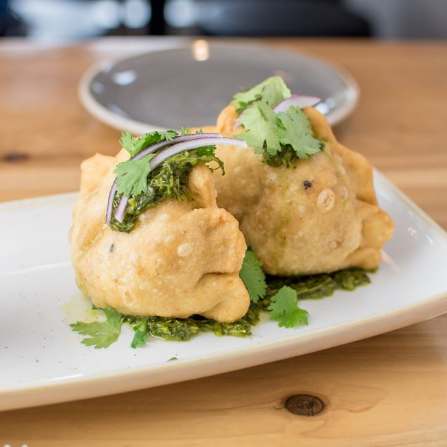 Potato Curry Samosas at Everly