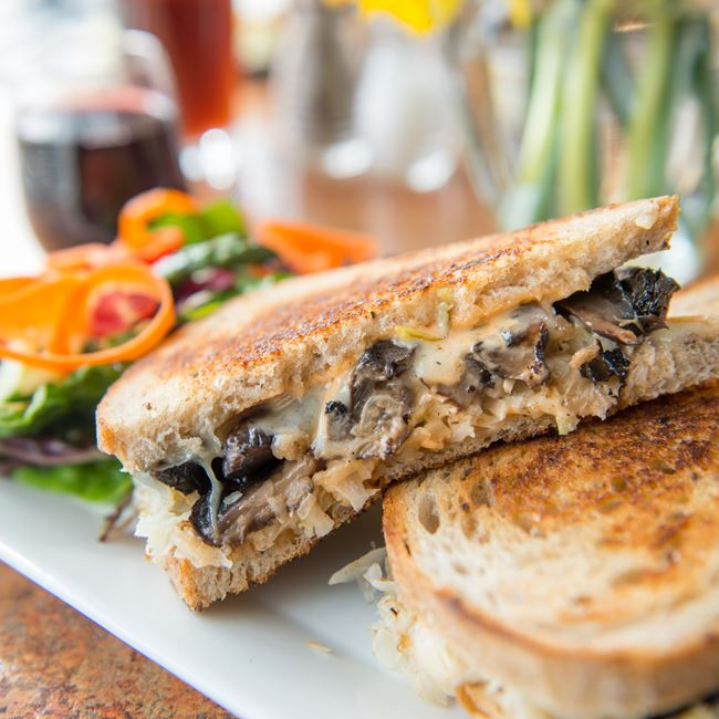Vegetarian Portobello Reuben at Bluefront Cafe