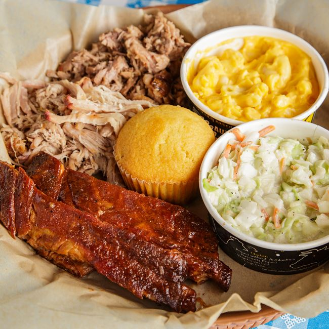 3 Meat Plate with Ribs, Pulled Pork & Brisket at Dickey's Barbecue Pit