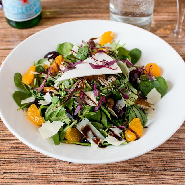 Organic Arugula and Spinach Salad at Villa Dolce Cafe