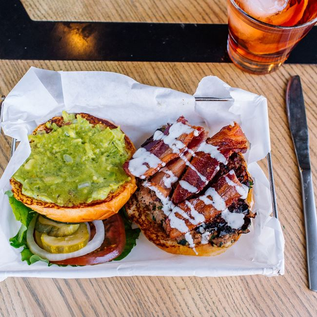 Turkey-Bacon-Guac Burger at Park Burger