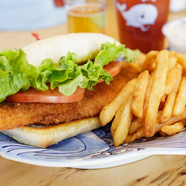Wisconsin Walleye Sandwich at The Thirsty Whale