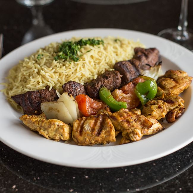 Beef & Chicken Kabob Combination at Casablanca