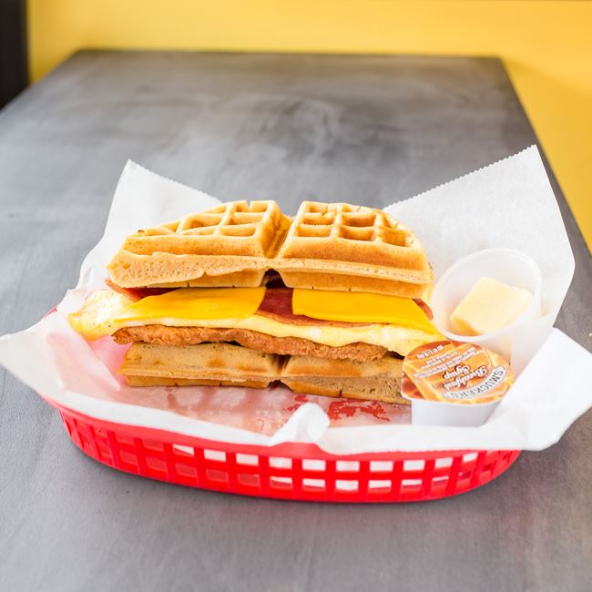 Chicken & Waffle Sandwich at Chubbys cheesesteaks