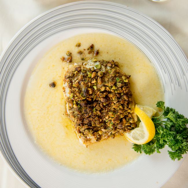 Pistachio Crusted Halibut at The English Inn