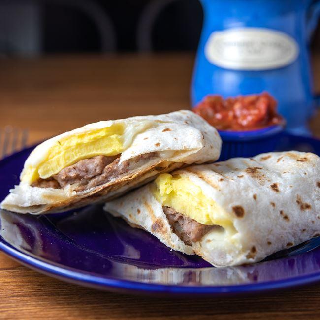 Sausage Breakfast Burrito at Caramel Crisp & Cafe