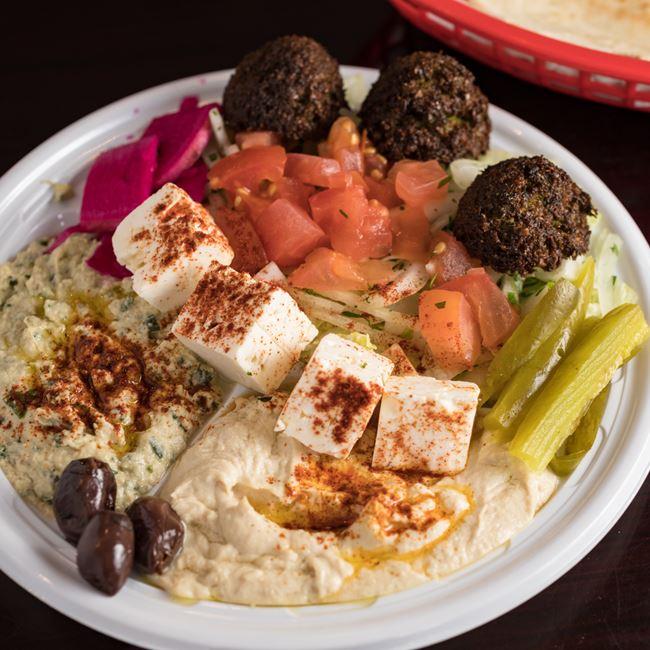 Falafel Plate at Mamoun's Falafel Restaurant