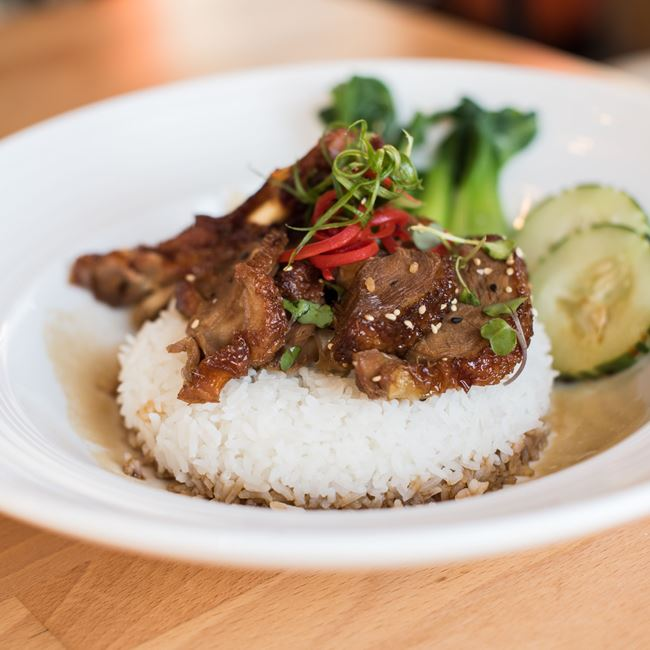 Honey Roasted Duck at Rice N Roll Bistro