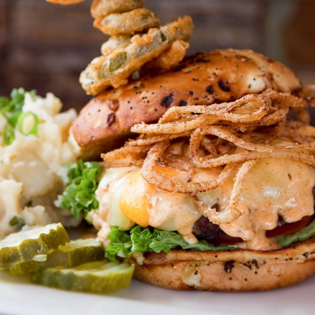 Curd Burger at Sprecher's Restaurant & Pub