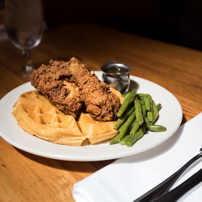 Fried Chicken & Waffles at Tarrant's Cafe