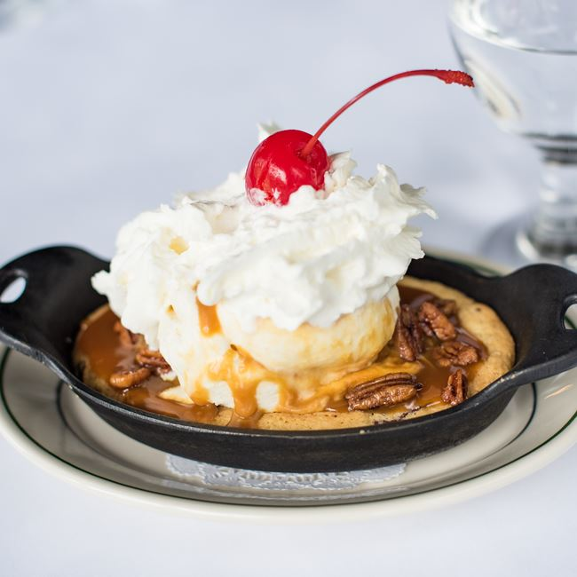 Warm Chocolate Chip Cookie Sundae at Mr. B's - A Bartolotta Steakhouse