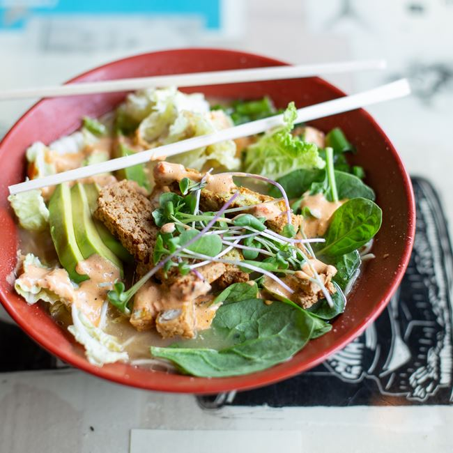 Green Goddess Ramen with Spicy Tofu at Ramen Bowls