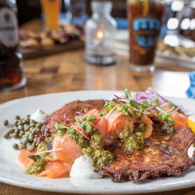 Smoked Salmon & Latkes at Café Bavaria