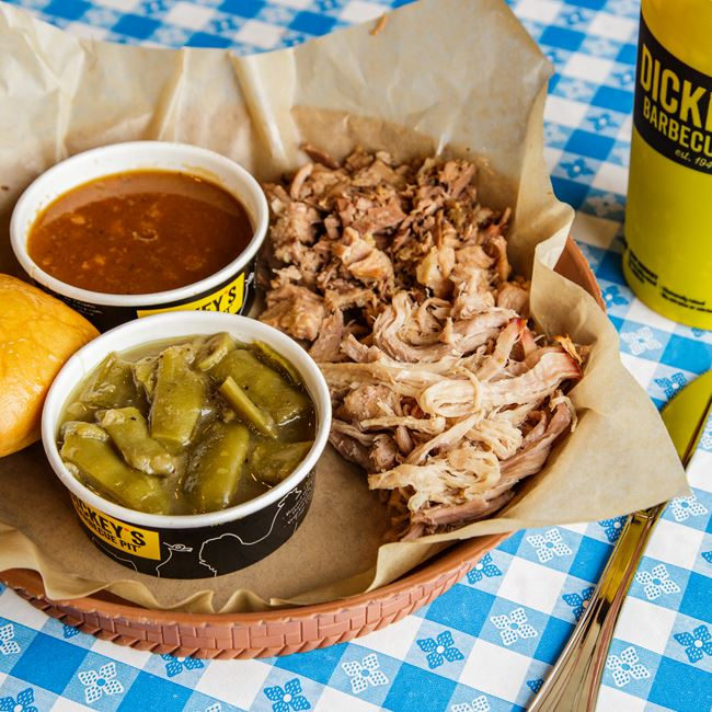 2 Meat Plate with Brisket and Pulled Pork at Dickeys Barbecue Pit