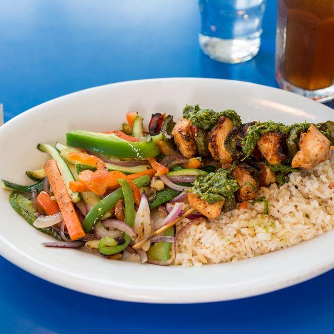 Chicken Chimichurri Kabob at Monty's Blue Plate Diner