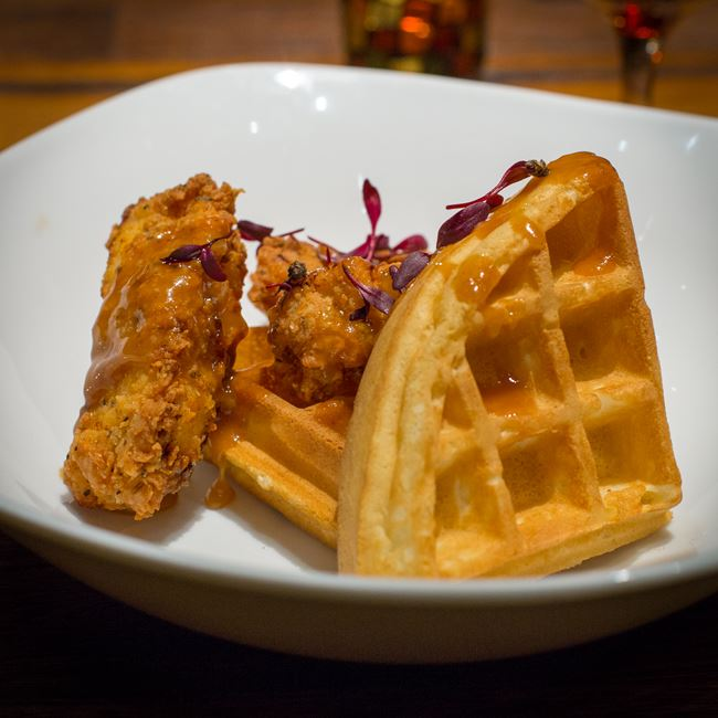 Chicken & Waffles at Distil