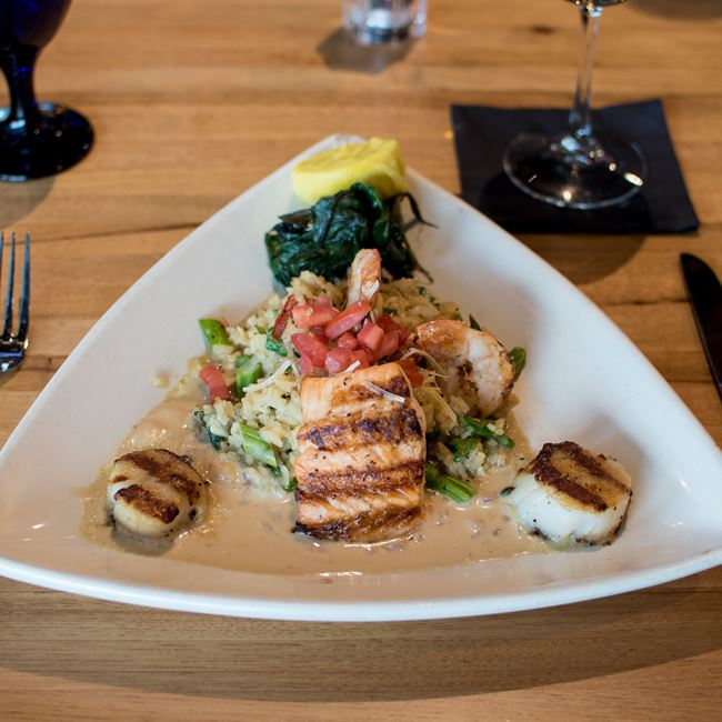Wood-Fyred Seafood Trio at Bonfyre American Grille