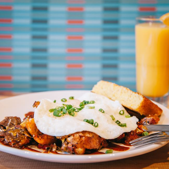 Smoked Brisket Hash & Eggs at Four Friends Kitchen