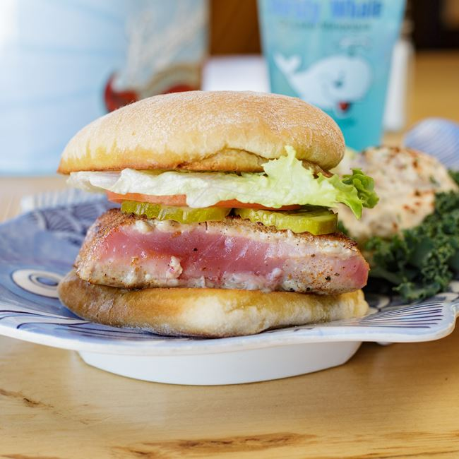 Blackened Ahi Tuna Sandwich at The Thirsty Whale