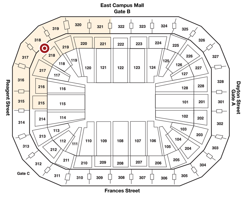Map of 218 Concessions in The Kohl Center