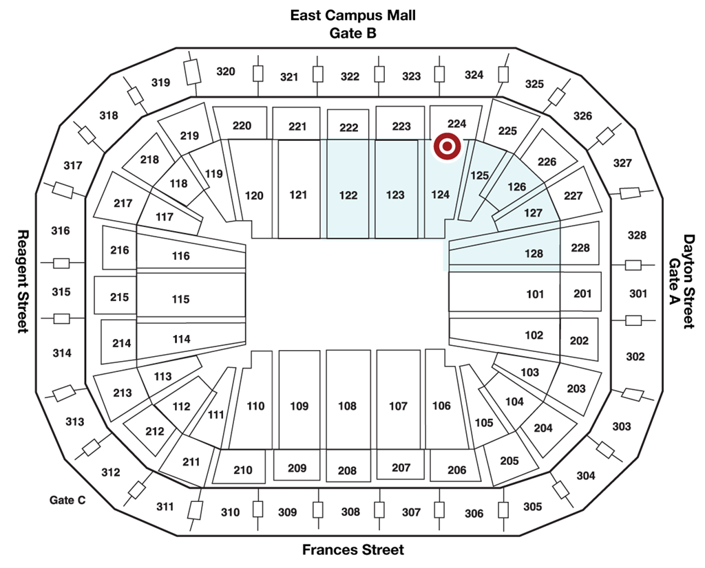 Map of 124 Concessions in The Kohl Center